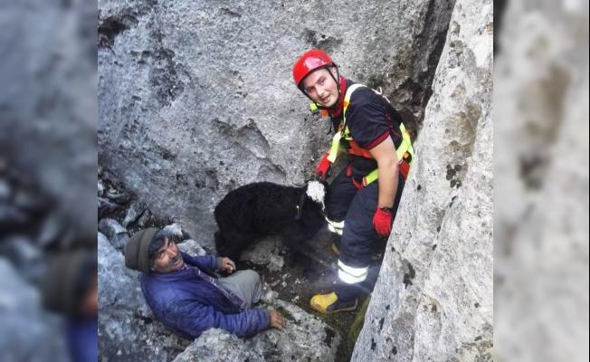 Dağda mahsur kalan oğlağı itfaiye kurtardı