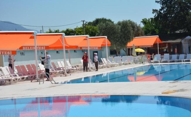Mihalgazi'de yüzme havuzları bayram için hazırlandı
