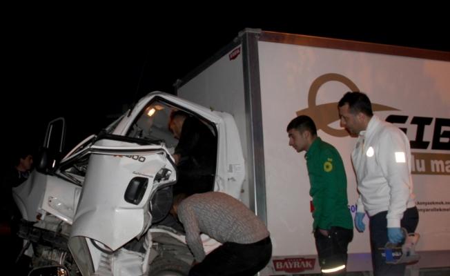Ağaca çarpan kamyonetin sürücüsünü itfaiye kurtardı
