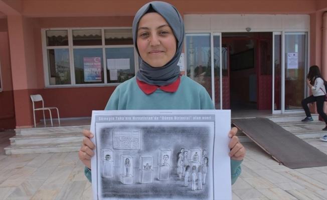 Lise öğrencisinin karikatürü dünya birincisi oldu