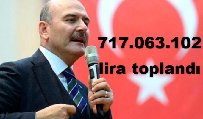 Süleyman Soylu: 717 milyon 63 bin 102 lira toplandı