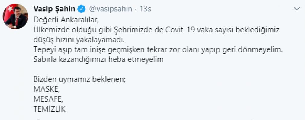 Vali Uyardı: Ankara'da Corona Vakası Düşmüyor!