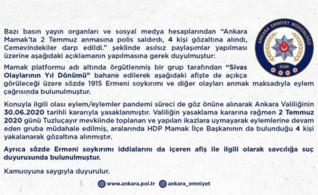 """Ankara Emniyet Müdürlüğü'nden açıklama: """"HDP Mamak İlçe Başkanı gözaltına alındı"""""""