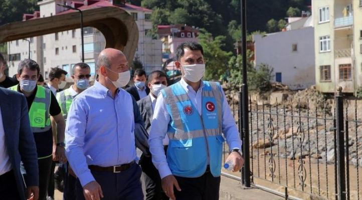 Bakan Kurum'dan selden etkilenen Doğankent'te 150, Dereli'de 200 konut müjdesi