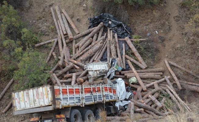 Eskişehir'de dereye düşen tomruk yüklü kamyonun sürücüsü öldü
