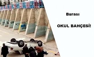 Ankara'da Kontrolü Kaybeden Araç Okul Bahçesine Uçtu