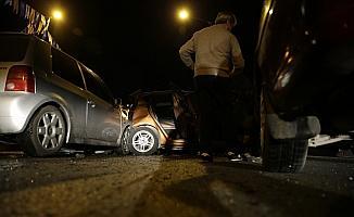 Başkentte zincirleme kazada 10 araç birbirine girdi