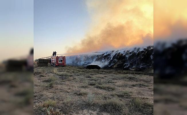 Konya'da saman ve yonca balyaları kundaklama sonucu yandı