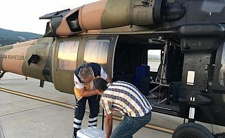 TSK helikopteri organ nakli için havalandı