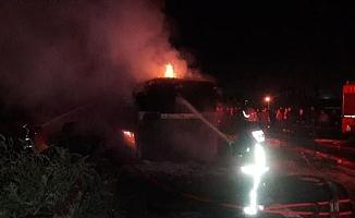 Başkentte seyir halindeki tırın dorsesinde yangın