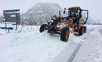 Derebucak'ta etkili kar yağışı