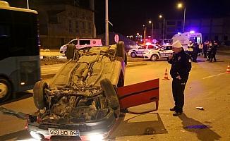 Sivas'ta otomobil devrildi: 1 yaralı