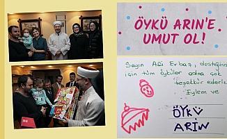Öykü Arin'den Diyanet İşleri Başkanı Erbaş'a teşekkür kartı