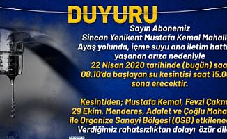 Dikkat!! Ankara'da Su Kesintisi Olacak!