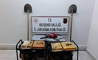 Avanos'ta izinsiz kazı yapan şüpheli suçüstü yakalandı
