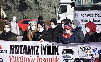 Bursa ve çevre illerden Suriye'ye İHH yardım tırları gönderildi