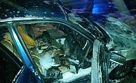 Başkentte seyir halindeki araç yandı