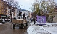 Kahramankazan'da karla mücadele