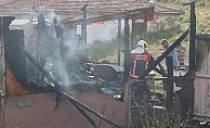 Gölbaşı'nda baraka yangını