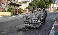 Başkent'te kontrolden çıkan otomobil takla attı: 5 yaralı