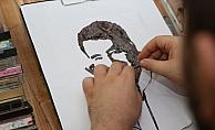 Iraklı genç, kaset bantlarıyla birçok sanatçının portresini yapıyor